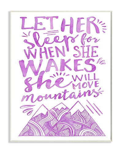 Stupell Home Décor Let Her Sleep Purple Mountains Wall Plaque Art, 10 x 0.5 x 15, Proudly Made in USA by The Kids Room by Stupell