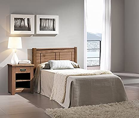 Suenoszzz-Dormitorio Juvenil Niza. Incluye: Cabecero Juvenil Y Mesita De Noche. Color Nogal En Madera Pino. 108 X 100: Amazon.es: Hogar