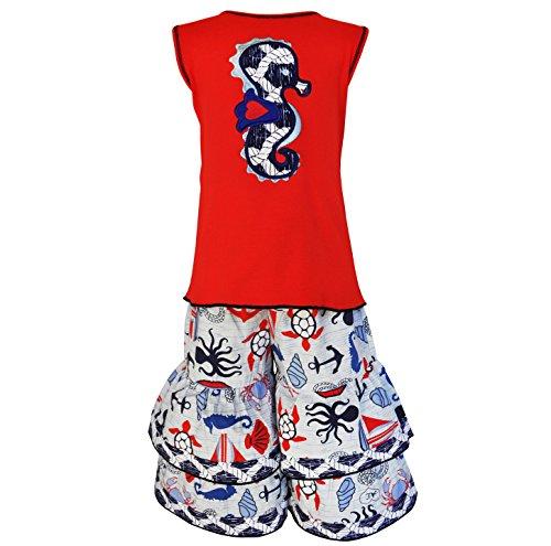 AnnLoren Big Girls sz 7/8 Boutique Nautical Seahorse Tunic and Capri Outfit