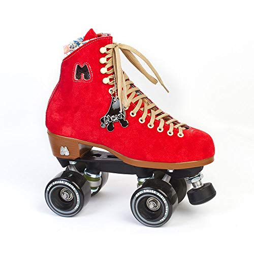 Moxi Skates - Lolly - Fashionable Womens Quad Roller Skate | Poppy Red | Size - Lace Poppy