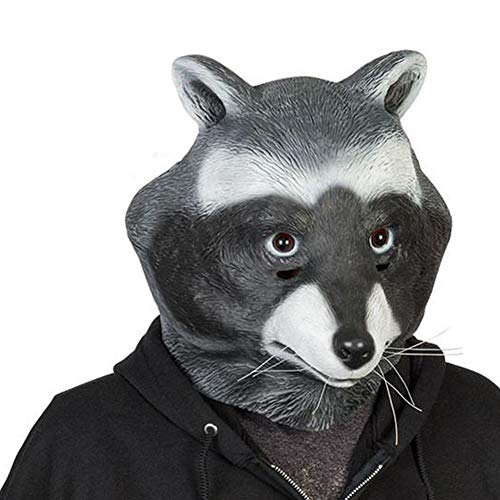 COSMOVIE Halloween Animal Head Mask For Adults Funny Raccoon Latex Mask]()