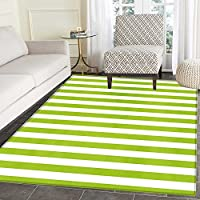 Lime Green Floor Mat Pattern Horizontal Stripes Simplistic Watercolor Paintbrush Large Lines Image Living Dinning Room & Bedroom Rugs 5x6 White Lime Green