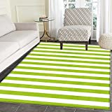 Lime Green Area Mat Horizontal Stripes Simplistic Watercolor Paintbrush Large Lines Image Indoor/Outdoor Area Mat 2'x3' White Lime Green