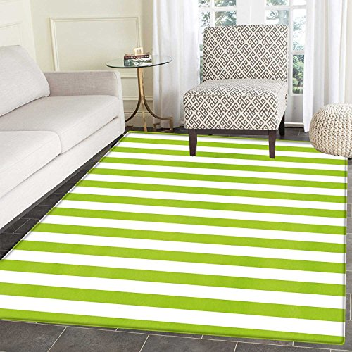 - Lime Green Area Mat Horizontal Stripes Simplistic Watercolor Paintbrush Large Lines Image Indoor/Outdoor Area Mat 2'x3' White Lime Green