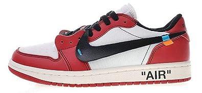 b902283d15e Herren Damen Off White X Nike Air Jordan 1 Low Chicago Aa3834-101 Red  Basketballschuhe