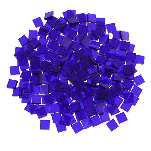 MonkeyJack Bulk Geometry Clear Glass Mosaic Tiles Pieces for DIY Hobbies Art Craft Material Accessories Multi Style to Choose - cobalt blue, 10mm x 10mm square (Mosaic Blue Cobalt)