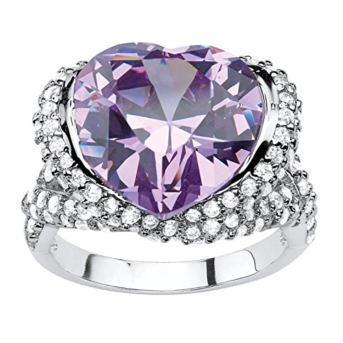 Lavender and White Cubic Zirconia Silvertone Heart-Shaped Halo Cocktail Ring Size 6