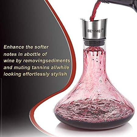 BEYIMEI Decantador de Vino, Decantador de Aireación de Vino de Cristal Premium,100% Jarra de Vino Sin Plomo -Oxigenador y Aireador para su Tinto Ideal para cata de vinos, recepción,cumpleaños(1700ml)