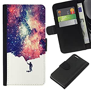 KingStore / Leather Etui en cuir / Apple Iphone 5C / Universo Peque?o Hombre simbólico Espacio de Arte Estrellas
