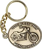 Antique Gold-Plated God Bless This Motorcycle Keychain 1 1/2 x 2 1/4 inches