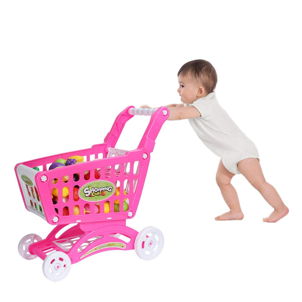 Anferstore Toy Shopping Cart with Toy Food , Supermarket Playset with Included Grocery Cart Toy for Kids , Toy Food Fruit Vegetable-24pcs (Pink)