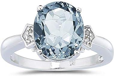 anillo de diamante con aquamarina