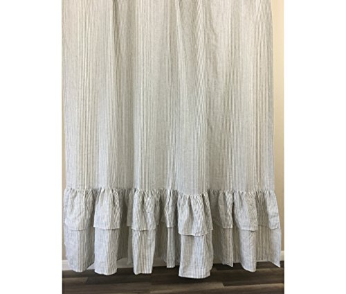 Grey and White Striped Shower Curtain with 2 Tiered Mermaid Ruffles, 72x72, 72x85, 72x94. Bathroom Curtain, Bathroom Decor, FREE SHIPPING (Tiered Shower Curtain Ruffle)