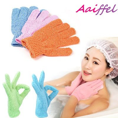 AAIFFEL Exfoliating Bath Shower Gloves Scrubber,Shower Sponge Mesh Pouf Cleansing Body Removes Dead Skin,2 pairs