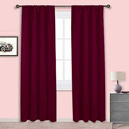 NICETOWN Burgundy Curtains Blackout Drapes