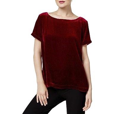 6153a14164782 Amazon.com  Eileen Fisher Womens Velvet Short Sleeves Pullover Top ...