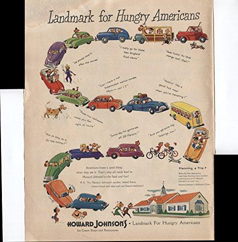 Johnsons Cream Ice Howard (Howard Johnson's Landmark For Hungry Americans Ice Cream Shops And Restaurants 1950 Vintage Antique Advertisement)