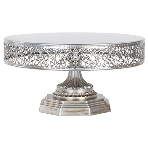 Amalfi Decor 12 Inch Silver Cake Stand, Antique Metal Round Wedding Event Birthday Party Dessert Cupcake Pedestal Display Plate, Victoria Collection