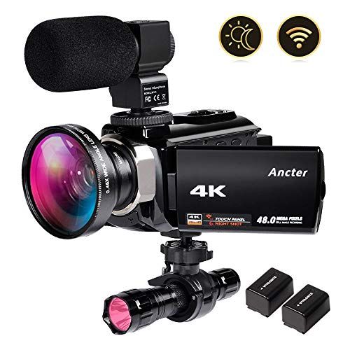- 4K Video Camera Zohulu Camcorder, WiFi Vlogging Camera for YouTube with Microphone, 60FPS 48MP Ultra HD 16X Digital Zoom Night Vision Camera with IR Flashlight, Wide Angle Lens (2 Batteries Included)