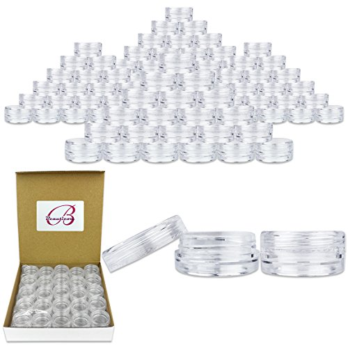 Beauticom 3G/3ML High Quality Clear Plastic Cosmetic Container Jars with Screw Cap Lids (Quantity: 100pcs) (Jar 3g)