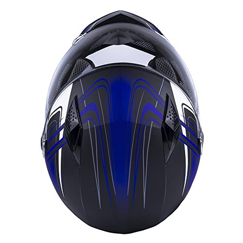 Typhoon Adult Full Face Motorcycle Helmet DOT (Matte Blue, XL)