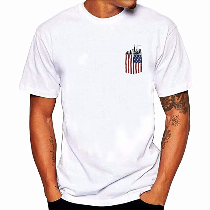 Amazon.com: Men Plus Size Flag Print Tees,Sharemen American Flag Cotton Blouse Tees T Shirt Tops July Fourth(White,2XL): Clothing