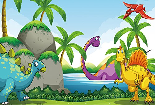 - Yeele 7x5ft Dinosaur Backdrop Cartoon Jurassic Park Photography Background for Picture Party Banner Decor Kid Children Portrait Photo Booth Video Shooting Vinyl Drape Wallpaper Studio Props