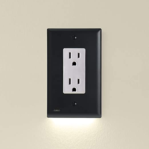 Single - SnapPower GuideLight 2 for Outlets [for Standard Decor, Not GFCI outlets] - Night Light - Electrical Outlet Wall Plate with LED Night Lights - Automatic On/Off Sensor - (Décor, Black)