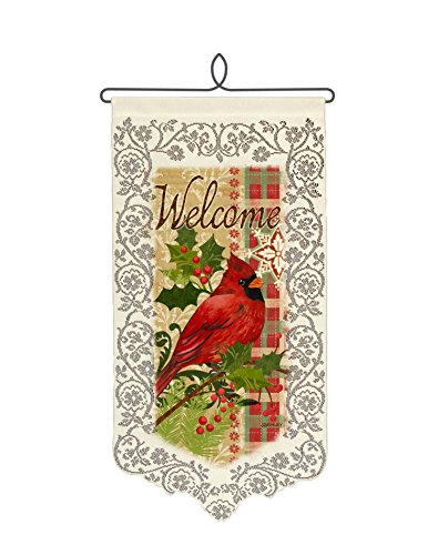 Heritage Lace Cardinal with Holly Wall Hanging, 12