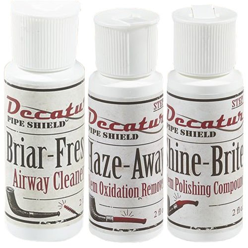 (Decatur Pipe Shield 3 Pack Briar-Fresh Haze Away Shine-Brite Cleaning Kit)