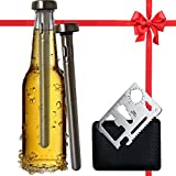 Best Beer Chiller Stick Pack of 2 - Bottle Opener Gift Included - Top Single Cooler Stainless Steel Accessories - Are Your Dad, Boyfriend, Men Beer Lovers - Unique Stocking Stuffers for Beer Drinkers