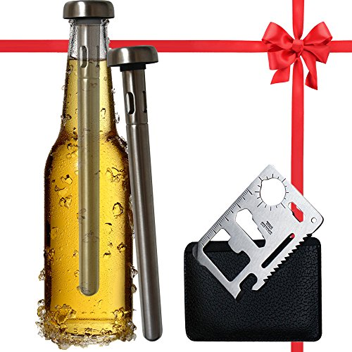 Best Beer Chiller Stick Pack of 2 - Bottle Opener Included- Top Single Cooler Stainless Steel Accessories - Are Your Dad Boyfriend Men Beer Lovers - Unique Practical Christmas Gift for Beer Drinkers