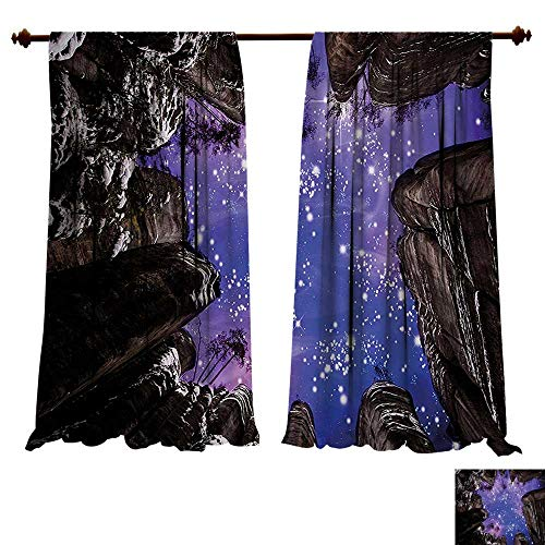 Thermal Insulating Blackout Curtain Night Sky Adrspach Teplice Rocks Czech Republic Outdoor Tourism Climbing Dark Brown Purple and White Patterned Drape For Glass Door (W72 x L72 -Inch 2 Panels)