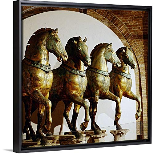 Bronze 32 Marco San - Italy, Veneto, St Mark Square, St Mark's Cathedral, Bronze Horses Black Floating Frame Canvas A.