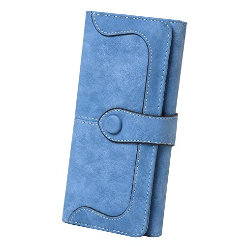Wallet Womens Blue (Women's Vegan Leather 17 Card Slots Card Holder Long Big Bifold Wallet,Light Blue)