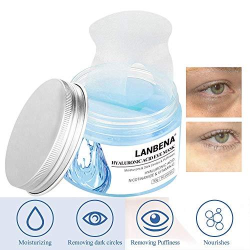 Eye Mask Sheet Hyaluronic Acid Eye Serum Patches Vitamin C Pad for Reduces Dark Circles Bags and Eye Lines Repair Skin Nourish Firming Anti-Wrinkle + Anti-aging (90 g/50 pieces) (Blue)