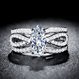 Women 925 Silver Marquise Cut White Sapphire Luxury Wedding 3pc Ring Size 7-9#by pimchanok shop (9)