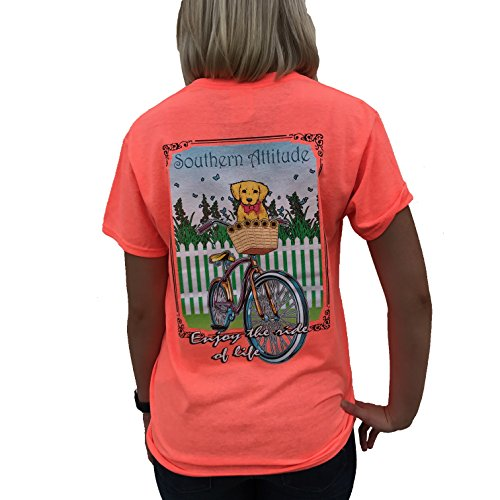 Southern Attitude Puppy In Bicycle Basket Heather Coral Short Sleeve Womens Shirt