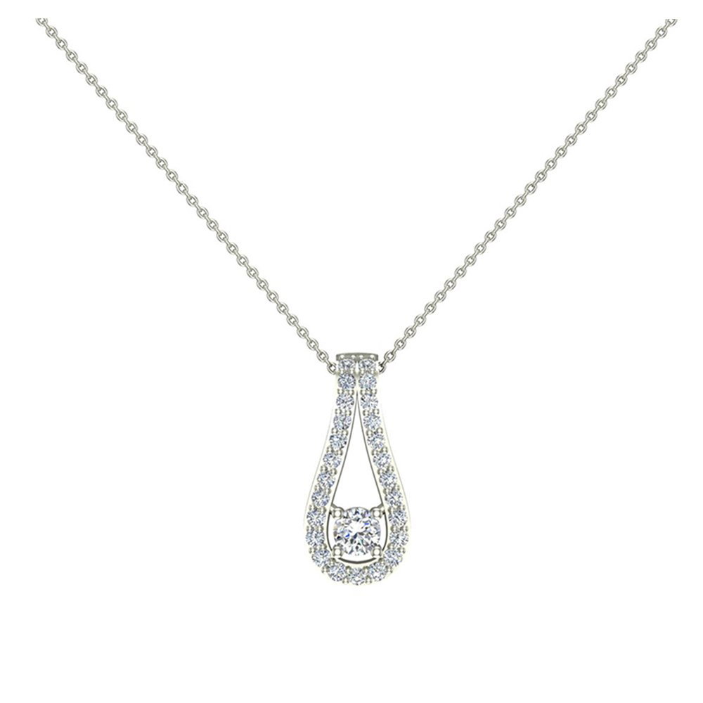 14K White Gold Necklace Teardrop Halo 0.46 ct tw Diamond Necklace