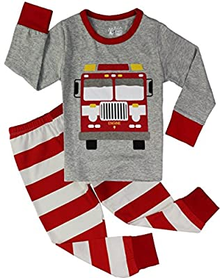 PHOEBE CAT Boys Truck Pajamas Children 100% Cotton 2 Piece Sleepwear Clothes Set