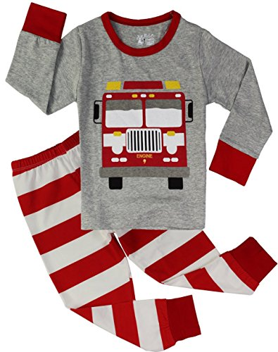 PHOEBE CAT Fire Truck Pajamas for Boys Sleepwear Clothes Toddler 2 Piece Pants Set Grey 2T