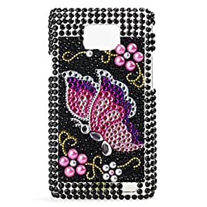 PEACH Butterfly Pattern Hard Case for Samsung i9100 (Black)