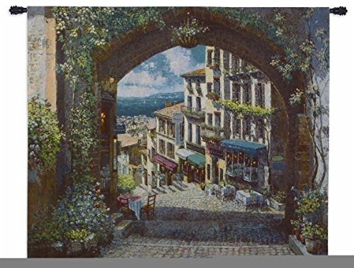 Picturesque Portrayal of French Coastal Seascape and Village 100/% Cotton Arch De Cagnes by Sam Park Woven Tapestry Wall Art Hanging for Home Living Room /& Office Decor USA 57X63 Pure Country Weavers 6044-WH