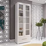 glass door cabinet Accentuations by Manhattan Comfort 75AMC6 75AMC6-MC Serra Bookcase 1.0 White