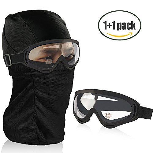 Balaclava Ski Mask, Vanmor Windproof Full Face Mask + UV400 Protection Anti-fog Ski Goggles for Cycling, Biking, Ski and Snowboard for Kids Men and Women (Black Goggle+Clear Lense) (Tactical Goggle Clear Replacement Lens)