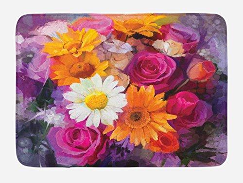 "Lunarable Watercolor Flower Bath Mat, Bouquet Design with Rose Daisy and Gerbera Bridal Romantic, Plush Bathroom Decor Mat with Non Slip Backing, 29.5"" X 17.5"", Orange Purple"