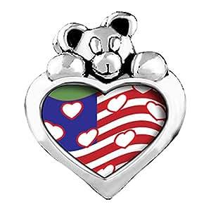 Bandera Americana con corazones amatista púrpura cristal febrero birthstone I Love You corazón cuidado oso encanto