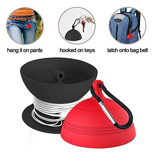 Earbuds Cord Organizer, Headphone Warp Cable Winder Headset Silicone Storage Case with Keychain, Fully Protect Earpieces Mics and Cords Keep Earphone Wire Tangle Free or Dustproof Red Black - 2 Pack
