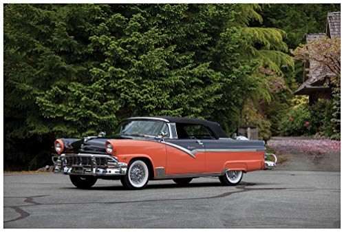 Ford Fairlane Sunliner Convertible (1956) Car Print on 10 Mil Archival Satin Paper Two Tone Front Side Static View (18