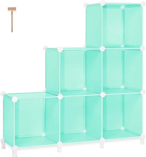 TomCare Cube Storage 6-Cube Bookshelf Closet Organizer Storage Shelves Shelf Cubes Organizer Plastic Bookcase Book Shelf DIY Closet Storage Organizer Shelves